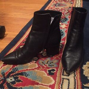 Dolce Vita Pointed Toe Black Leather Boots Heeled